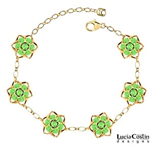 Star Shaped Flower Bracelet by Lucia Costin Crafted in 24K Yellow Gold Plated over .925 Sterling Silver with Light Green Swarovski Crystals and Middle Flowers, Decorated with Twisted Lines