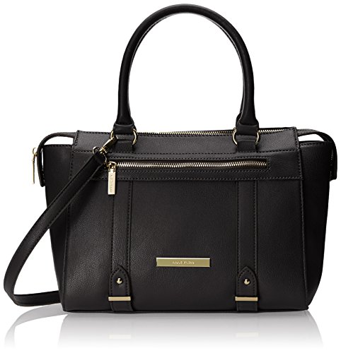 Anne Klein Military Luxe II Satchel Top Handle Bag, Black, One Size