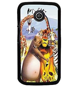 PrintDhaba Animated Animals D-5347 Back Case Cover for MOTOROLA MOTO E (Multi-Coloured)