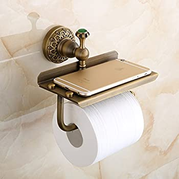 Beelee Bathroom Tissue Holder/toilet Paper Holder Solid Brass Wall-mounted Toilet Roll Holder, Toilet Paper Tissue Holder with Mobile Phone Storage Shelf Antique Brass Finished