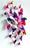 24Pcs Butterfly New Home Decoration DIY Removable 3D Vivid Special Man-made Lively Butterfly Art DIY Decor Wall Stickers for home Room Pink,Purple