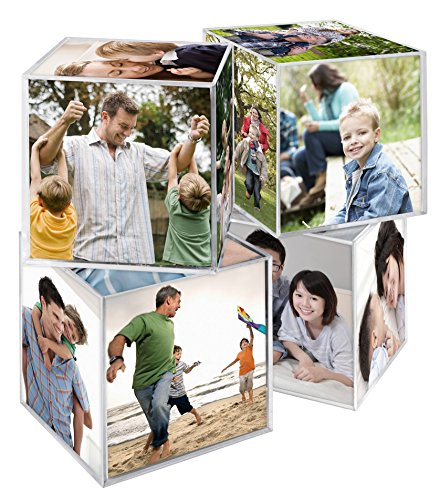 MCS Clear Plastic 6- Sided Photo Cube (4 Pack)