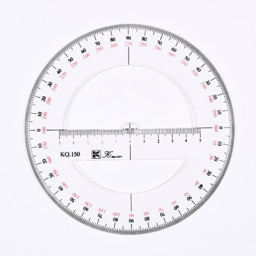Bcp 15cm 6inch double scale 360 degree circular for Circular protractor template