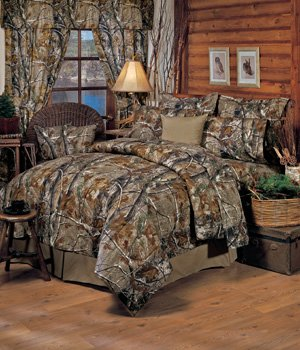 Realtree All Purpose Camouflage 8 Pc King Comforter Set And Matching Bathroom Shower Curtain 1 Flat Sheet Fitted 2 Pillow Cases Shams