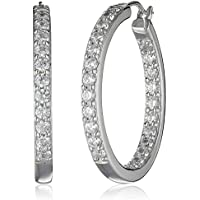 Amazon Collection Swarovski Platinum Zirconia Inside Out Hoop Earrings (Silver)