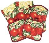 Red Garden Apples 5 Piece Kitchen Towel Set - 2 Towels, 1 Oven Mitt, 2 Pot Holders