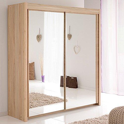 Schwebetürenschrank grau B 181 cm eiche dakota Kleiderschrank Schrank Wäscheschrank Schiebetürenschrank Spiegelschrank Kinderzimmer günstig online kaufen