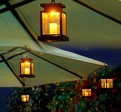 2 * New Lantern Hang Twinkle Lamp Led Solar Power Candle Lights Garden Lights