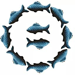 CSKB BLUE 10 PCS 60mm Goldfish Ceramic Door Knob Cute Handle Pull For Cupboard/Cabinet/Bathroom Door/Drawer Interesting Home Decoration For Kids 6 Colors Available