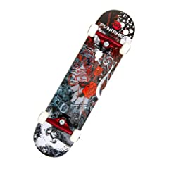 Buy Punisher Skateboards Rose Complete 31-Inch Skateboard with Canadian Maple by Punisher Skateboards