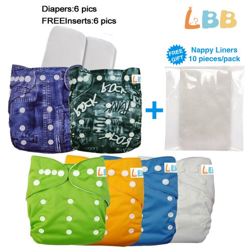 Lbb(Tm) Baby Resuable Washable Pocket Cloth Diaper With Adjustable Snap,6 Pcs+ 6 Inserts,Jeans