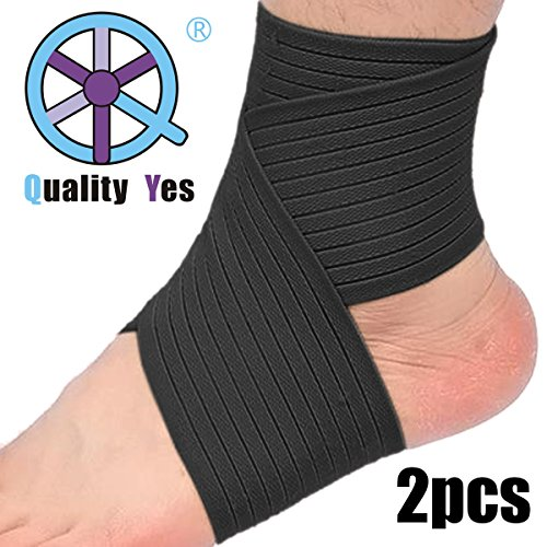 QY 2Pack Ankle Support Knee Support Wrist Support--Black