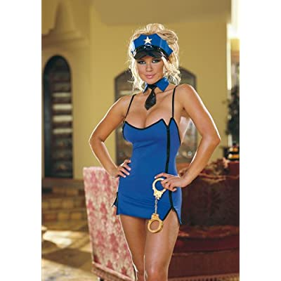 Sexy   Halloween Costumes: Hot Babes in Dirty Cop Sleepwear dress with double two way zippers and low back