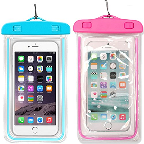 1Pack Blue+1Pack Pink Universal Waterproof Phone Case Dry Bag CaseHQ for iPhone 4/5/6/6s/6plus/6splus Samsung Galaxy s3/s4/s5/s6 etc. Waterproof,Snow Proof Pouch for Cell Phone up to 5.7 inches (Lg3 Cell Phone Accessories Cases compare prices)