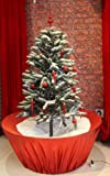 Snowing Christmas Tree Red Base 4 Feet 5 Inches Tall