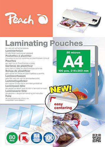 Peach Laminating Pouches A4, 80 mic, PP580-02,100-pack