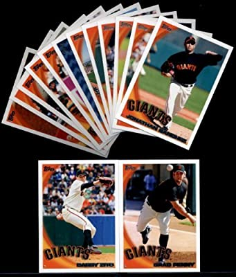 HOT - 2010 Topps Baseball Cards Complete TEAM SET: San Francisco Giants (Series 1 & 2) 23 Cards including Buster Posey & Madison Bumgarner Rookie Cards Plus Tim Lincecum, Runzler, Cain, Rowand, Sanchez, Uribe, Zito & more!