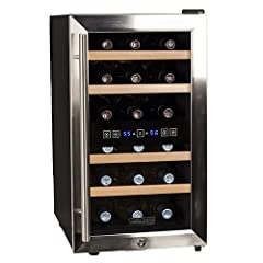 Koldfront 18 Bottle Free Standing Dual Zone Wine Cooler - Black and Stainless Steel