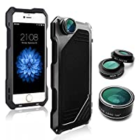 iPhone 7 Camera Lens Kit, SHEROX 3 in 1 198° Fisheye Lens + 15X Macro Lens + Wide Angle Lens with IP54 Dustproof Shockproof Aluminum Case, Built-in Screen Protector 4.7 Inches