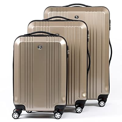 FERGÉ Trolley set CANNES - 3 suitcases hard-top cases - three pcs hard-shell luggage with 4 twin-spinner-wheels (360) - ABS & PC