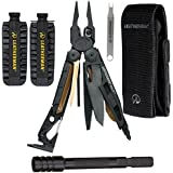 Leatherman Mut Black Tactical Multi Tool With Molle Sheath + 42 Piece Bit Kit With Scope Wrench + Bit Extender Black