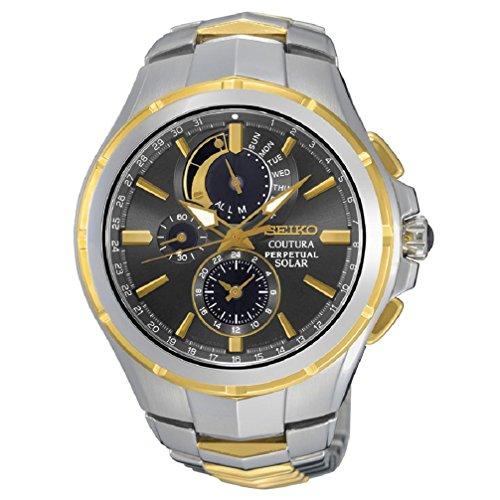 Seiko SSC376 - Orologio Coutura con cronografo da uomo, due tonalità, a energia solare, perpetuo