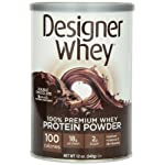 DESIGNER WHEY 100% Premium Whey Protein Powder, Double Chocolate, 12-Ounce Canister,(Pack of 2)