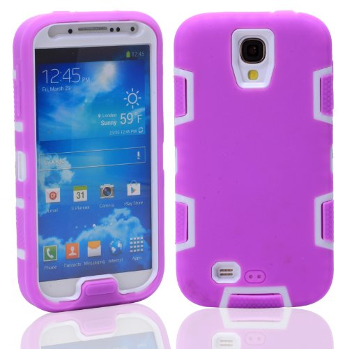 Magicsky Robot Series Hybrid Armored Case For Samsung Galaxy Iiii S4 I9500 - 1 Pack - Retail Packaging - White/Purple