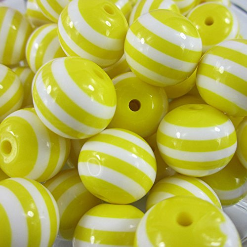 10 PCs Resin Yellow Stripe Beads Chunky Necklace Bracelet Pendant Jewelry 20 mm (Little Window Resin compare prices)