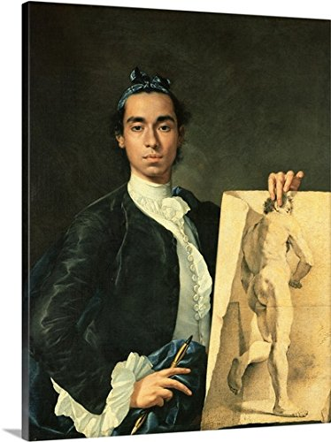 Self Portrait Holding a Nude Study, 1746 Gallery-Wrapped Canvas