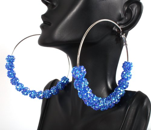Basketball Wives Blue Shamballah 3 Inch Hoop Earrings with 12 Disco Balls Poparazzi