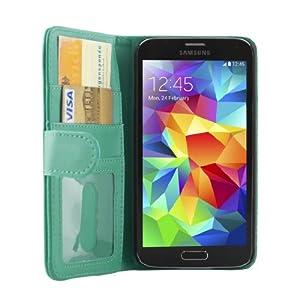 iProtect Samsung Galaxy S5 Schutzhülle Book Style Kunstleder S 5 Premium Wallet Case mit Ausweis Fach hellblau