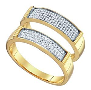 Pricegems 10K Yellow Gold Ladies Round Brilliant Diamond Pave Set Bridal Ring Size: 6.25)