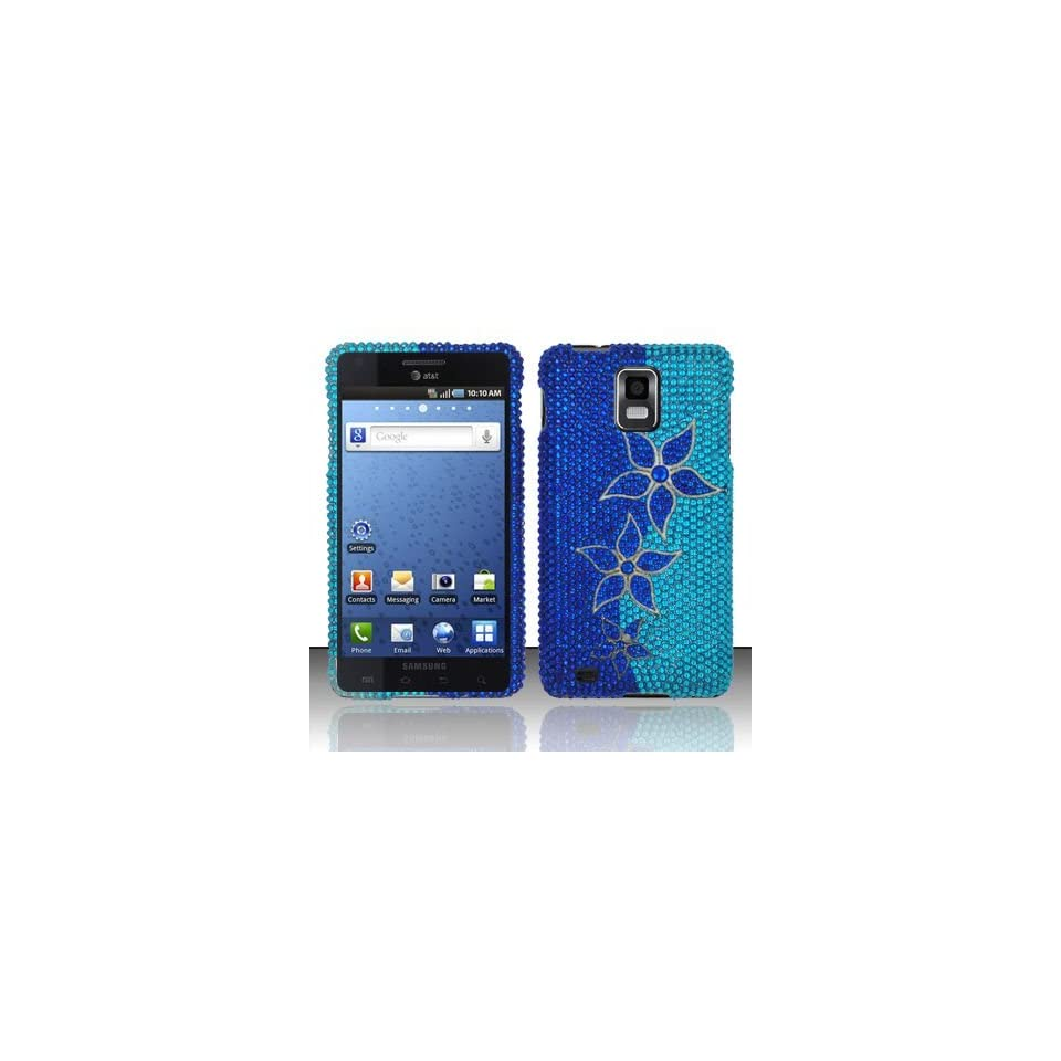 BLUE FLOWERS Hard Plastic Rhinestone Bling Case for Samsung Infuse 4G i997 + Car Charger [In Twisted Tech Retail Packaging]