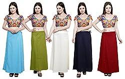 Pistaa combo of Women's Cotton Light Rama, Mehendi Green, Cream, Navy Blue and Deep Maroon Color Best Comfortable Inskirt Saree petticoats