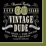 Creative Converting 16 Count Vintage Dude 60th Birthday Lunch Napkins