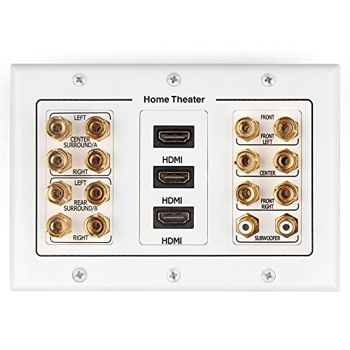 TNP Home Theater Wall Plate - 3-Gang 7.2 Surround Sound Distribution w/ Premium Gold Plated Copper Banana Binding Post Coupler for 7 Speakers, 2 RCA Jack for Subwoofer, 3 HDMI Port for UHD 4K HD 1080P (Home Theater Panel compare prices)