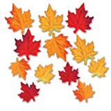 Beistle 12-Pack Deluxe Fabric Autumn Leaves Decorative Cutouts, 3-1 2 by 4-3 4-Inch