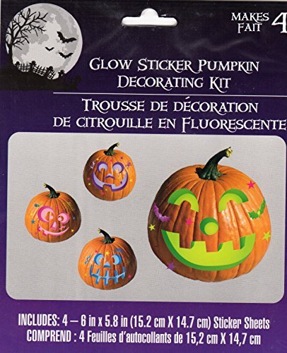 Halloween Glow Pumpkin Decorating Kits- Makes 4 - 1