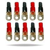 InstallGear 1/0 Gauge Awg Crimp Ring Terminals Connectors - 10-Pack (5 Positive, 5 Negative)