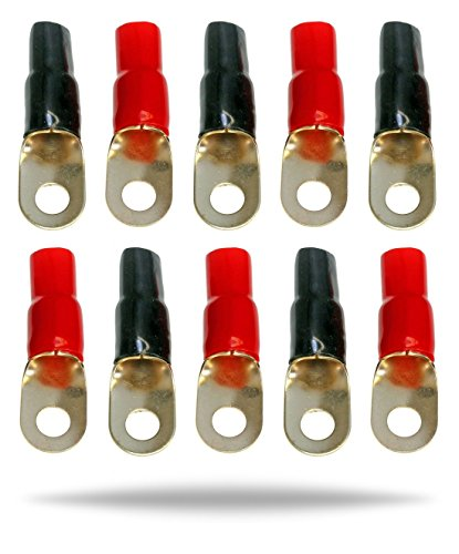 InstallGear 1/0 Gauge Awg Crimp Ring Terminals Connectors – 10-Pack (5 Positive, 5 Negative)