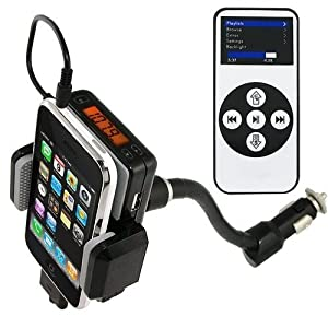 Wireless Automobile FM Transmitter + Car Charger + Holder/Dock + REMOTE for iPod Touch Touch 2G Classic Nano 3G 4G 5G Compatible with iPhone 3G /3GS/ 4G from Esky