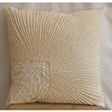 Peacock Pearls - 16x16 inches Decorative Pillow Covers - Linen Pillow Cover Embroidered with Mother Of Pearl & Beads