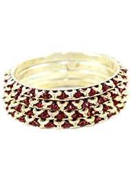 Lovely Mehroon Golden Bangles For A Contemporary Look - B00TB7H0LK