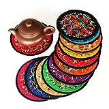 "Coasters for Drinks,Vintage Ethnic Floral Design Placemat Value Pack, 10pcs/Set, 5.12""/13cm (Mixed Colors)"