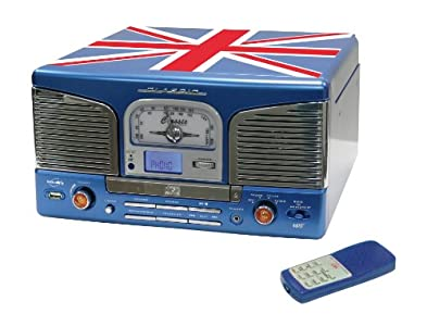 Review and Buying Guide of Cheap Inovalley Retro 03 N-UK Blue Union Jack Retro Styled HiFi Music System, FM Radio, Vinyl Record Player & CD Player (MODEL with MP3 usb stick recording & playback)