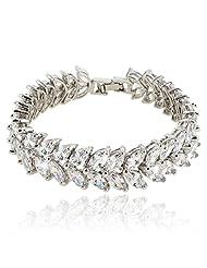 Ever Faith Wedding Leaves Full Prong Clear CZ Bracelet Chain Silver-Tone N03611-1
