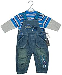 Boys Denim Dungarees & Long Sleeve Top 2 Piece Baby Set from born - 12 Months