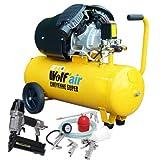 Wolf Cheyenne V-Twin 50 Litre, 3HP, 14CFM, 230v, MWP 150psi, 10BAR Air Compressor + 5 Piece Air Tool Kit: 5m Hose, Gravity Feed Spray Gun, Tyre Inflator, Long Nozzle Sprayer and Blow Gun + Air Nailer