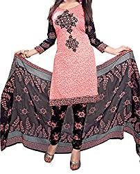 Mk Enterprise Women's Straight Cut American Crepe Pink Salwar Suit - Dress Material